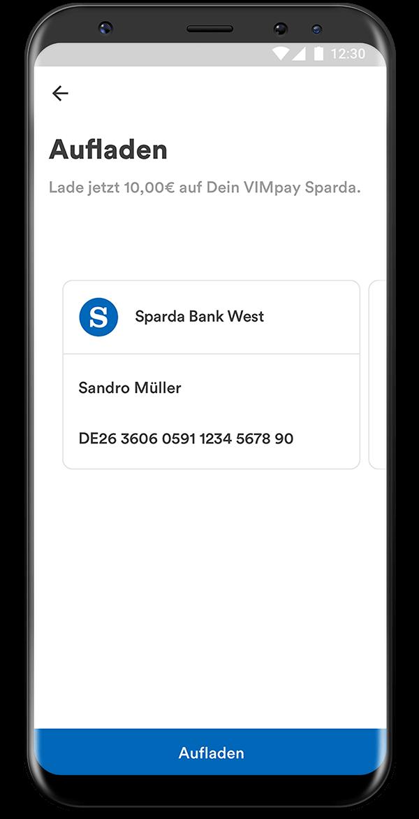 VIMpay Sparda Screen Blitzaufladung Android